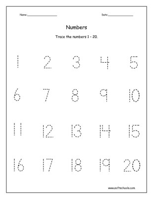 Tracing Numbers 1 20 Printable Trace the Numbers 1 – 20 Worksheet