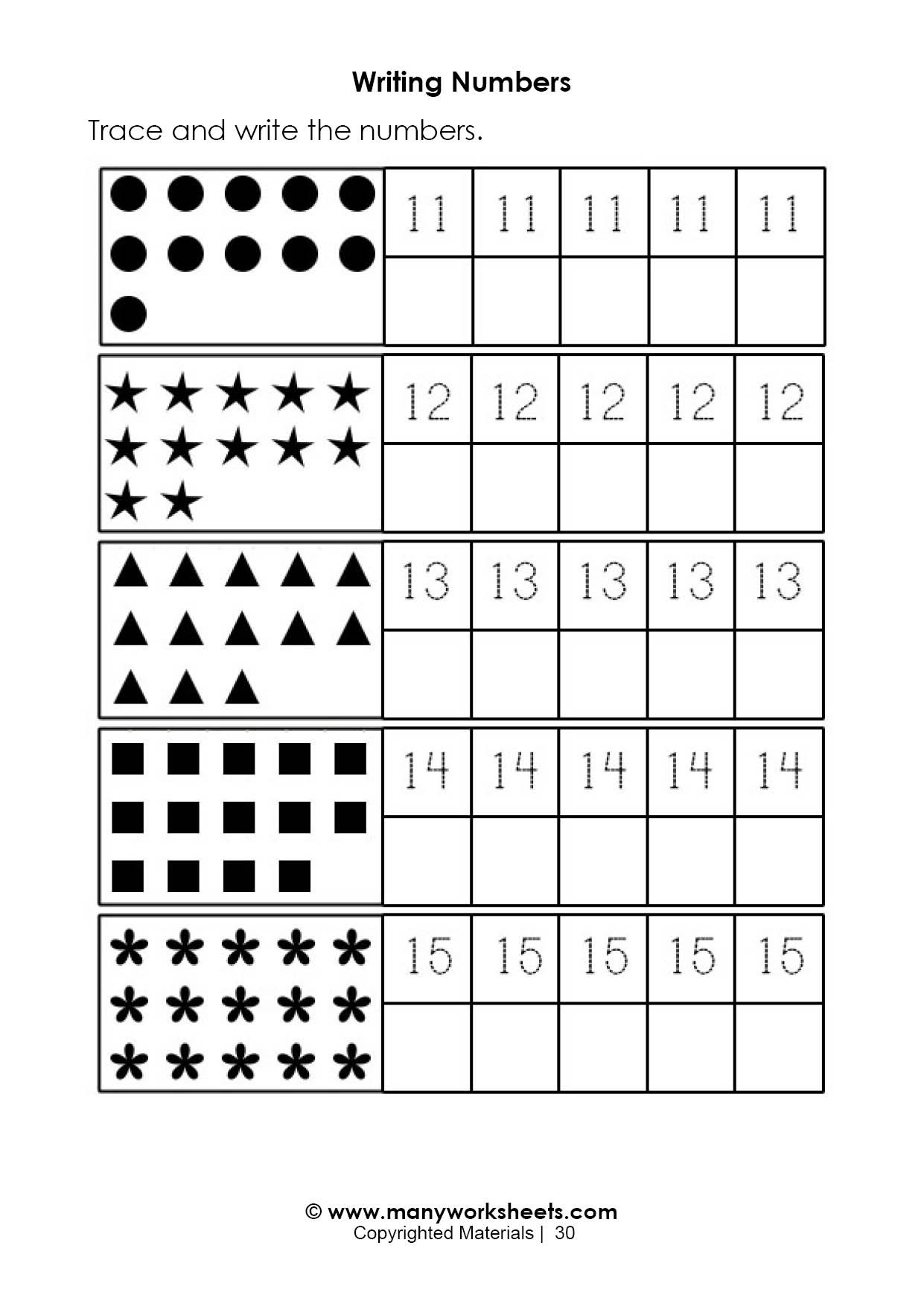 Tracing Numbers 1 20 Printable Tracing and Handwriting Numbers 11 15 Worksheet
