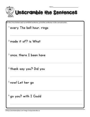 Unscramble Sentences Worksheets 1st Grade First Grade Scrambled Sentences Worksheets