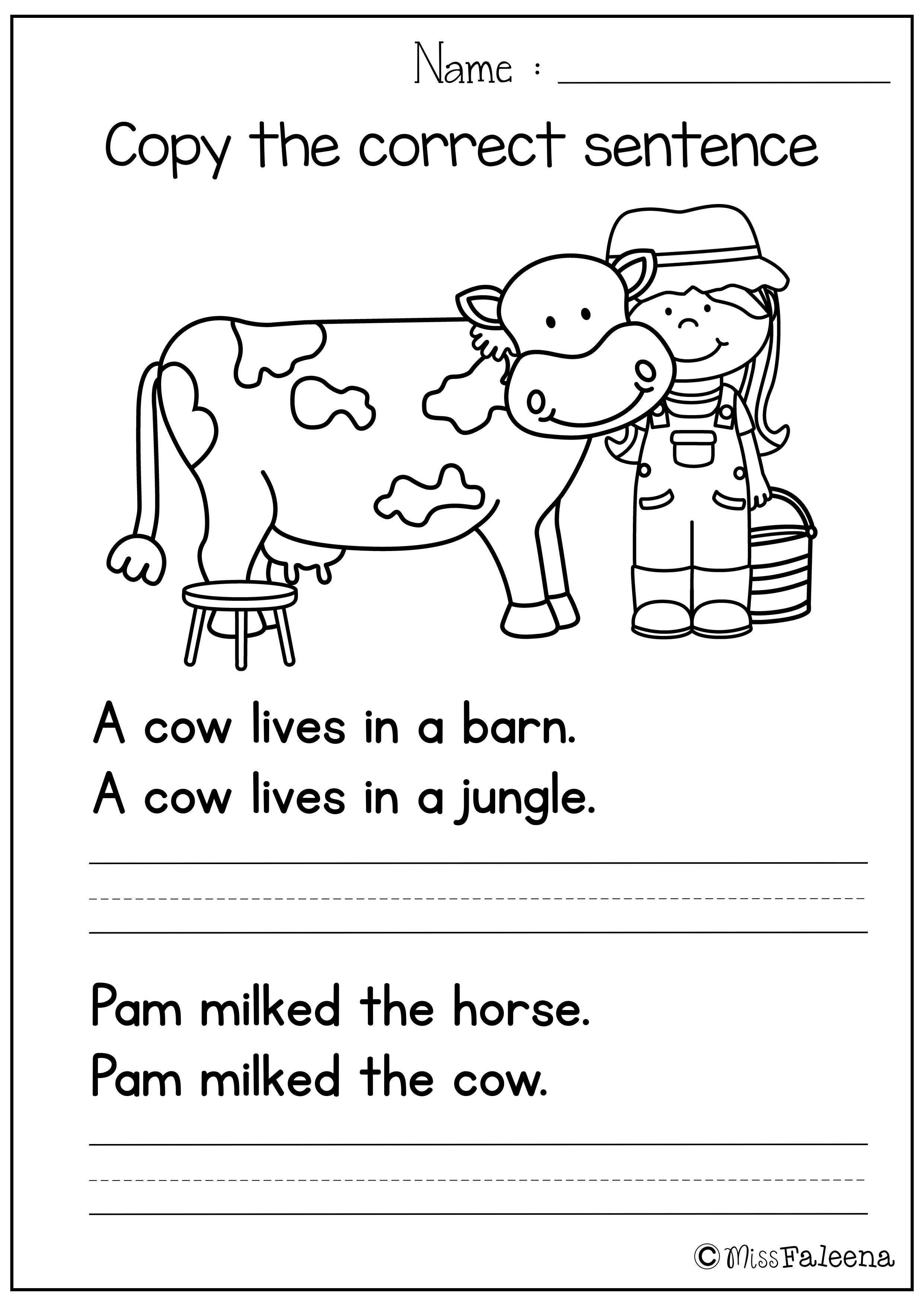 Unscramble Sentences Worksheets 1st Grade Free Sentence Writing Copy the Correct Sentence