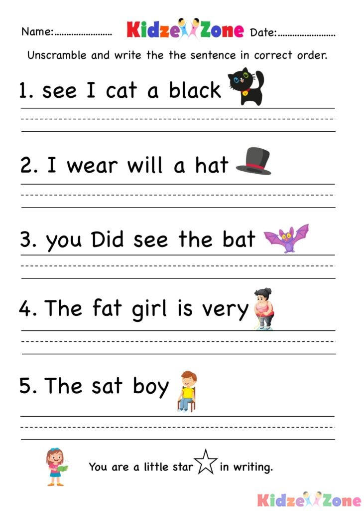 """Unscramble Sentences Worksheets 1st Grade Unscramble Sentences Worksheets for Grade 1 لم يسبق له Ù…Ø ÙŠÙ"""""""