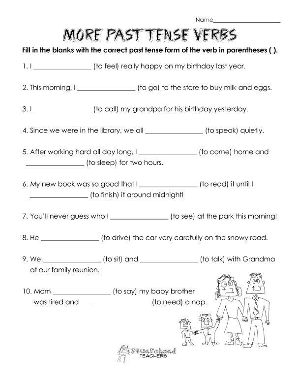 Verb Tense Worksheets 2nd Grade Past Tense Verbs Practice
