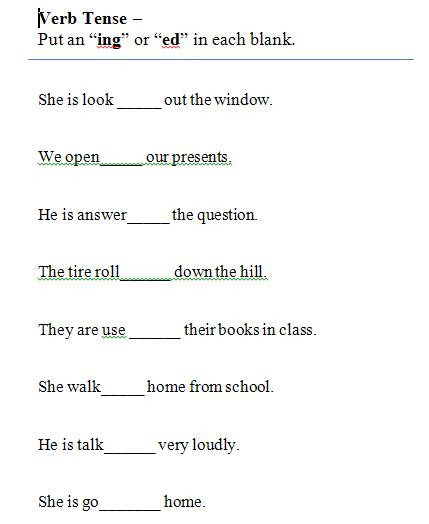 Verb Tense Worksheets 2nd Grade Verbs and Verb Tense