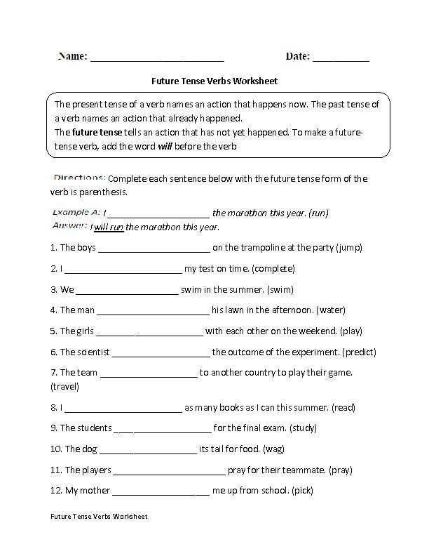 Verb Tense Worksheets 3rd Grade Present Past and Future Tense Worksheets for Grade 3 the