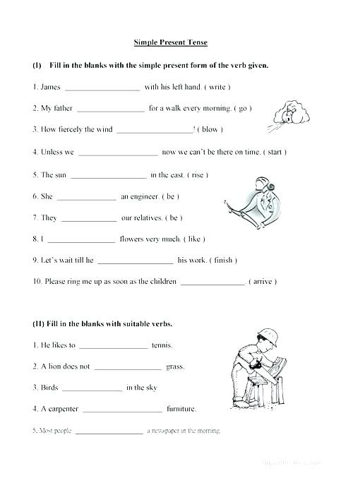 Verb Tense Worksheets 3rd Grade Present Tenses Worksheets – Dailycrazynews