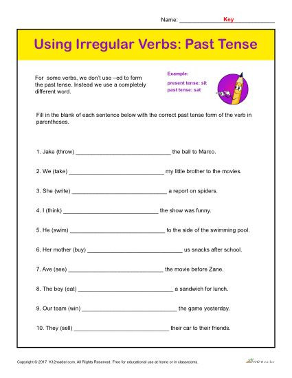 Verb Tense Worksheets 3rd Grade Using Irregular Verbs Past Tense