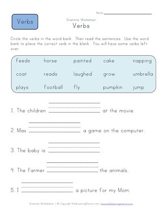 Verbs Worksheet First Grade Plete the Sentences Verb Worksheet