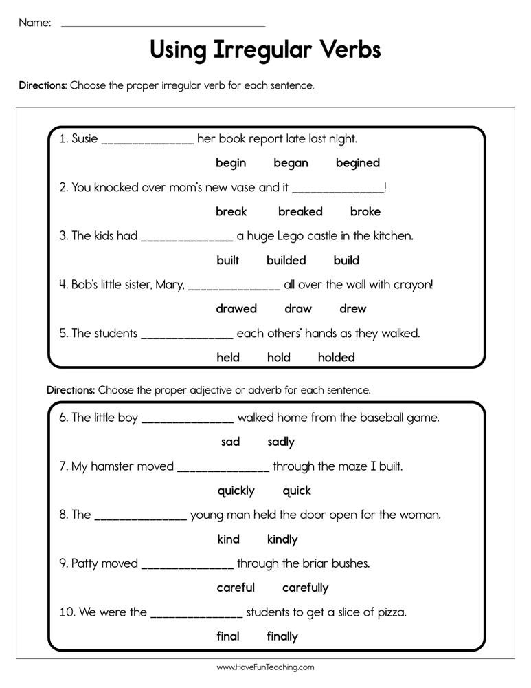 Verbs Worksheet First Grade Use Irregular Verbs Worksheet