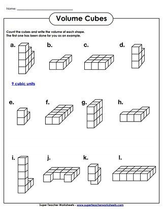 Volume Worksheets 3rd Grade Volume Cubes Worksheet Easy