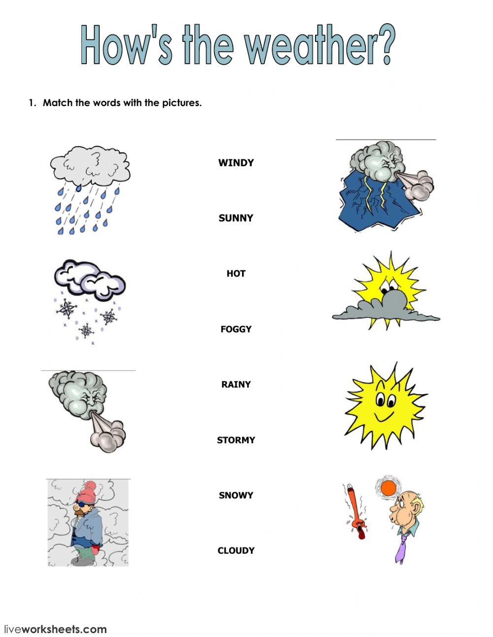 Weather Worksheets for 2nd Grade Seasons and Clothes Interactive Worksheet