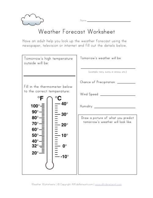 Weather Worksheets for 2nd Grade Weather forecast Worksheet