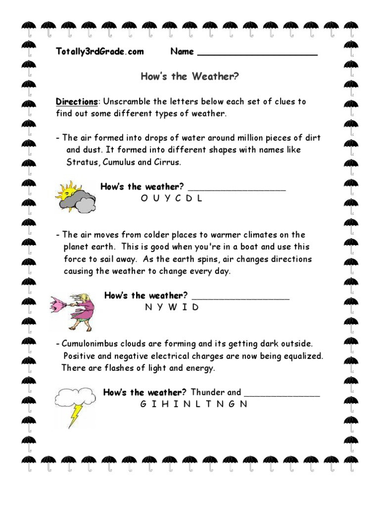 Weather Worksheets for 3rd Grade 3rd Grade