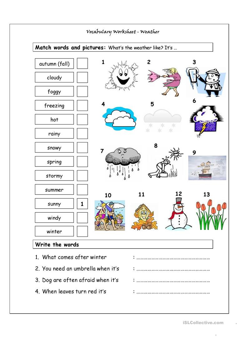 vocabulary matching worksheet weather fun activities games 4000 1
