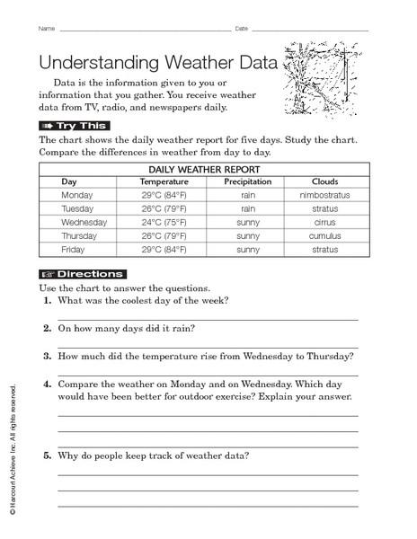 Weather Worksheets for 3rd Grade Understanding Weather Data Worksheet for 3rd 4th Grade