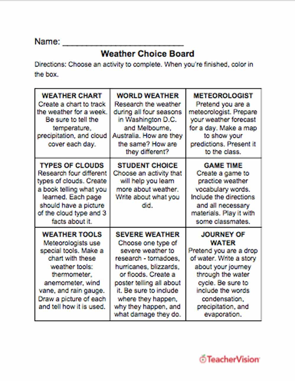 Weather Worksheets for 3rd Grade Weather Choice Board Teachervision