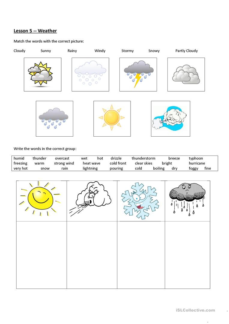 Weather Worksheets for 3rd Grade Weather English Esl Worksheets for Distance Learning and