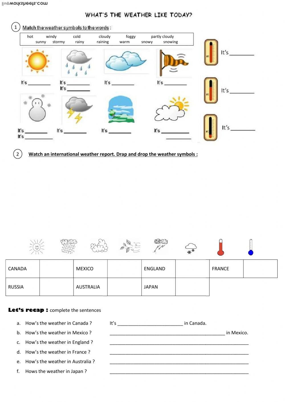 Weather Worksheets for Second Grade How S the Weather today Interactive Worksheet