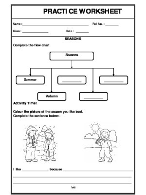 Weather Worksheets for Second Grade Seasons