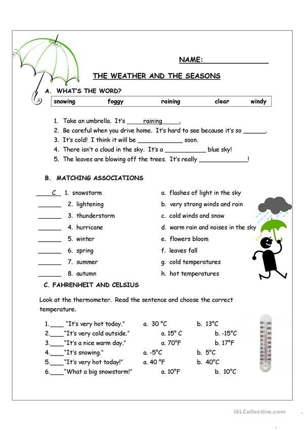 Weather Worksheets for Second Grade the Weather and the Seasons