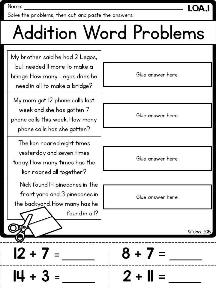 Word Problems Worksheets 1st Grade 1st Grade Math Printables Worksheets Operations and