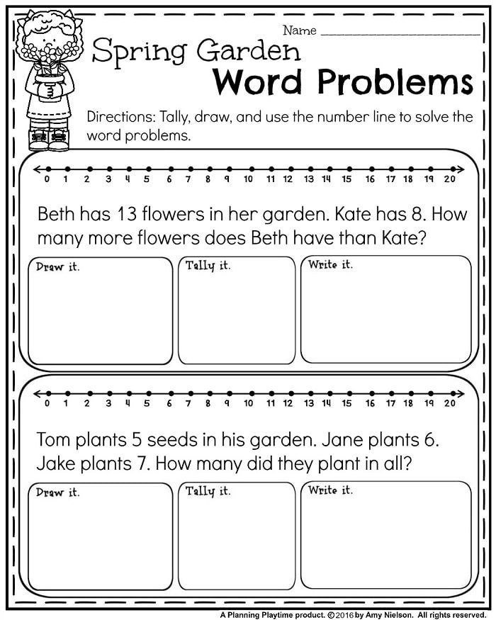 Word Problems Worksheets 1st Grade May First Grade Worksheets for Spring